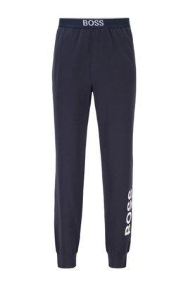 Pyjama-Hose aus Stretch-Baumwolle mit vertikalem Logo, Dunkelblau