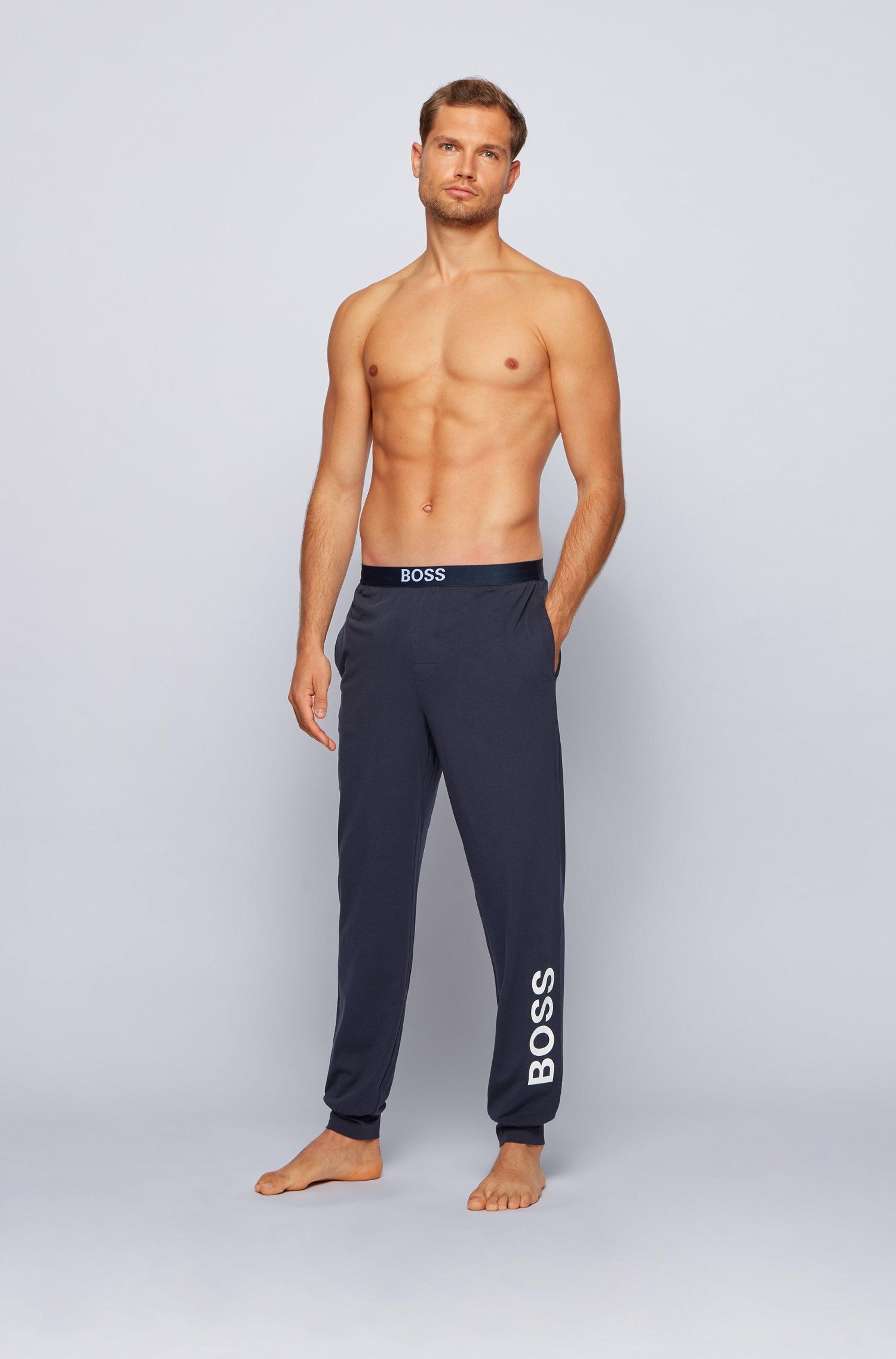 Pyjama-Hose aus Stretch-Baumwolle mit vertikalem Logo