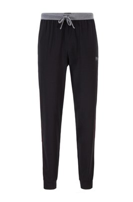 Cotton-blend cuffed pyjama trousers with contrast piping, Black