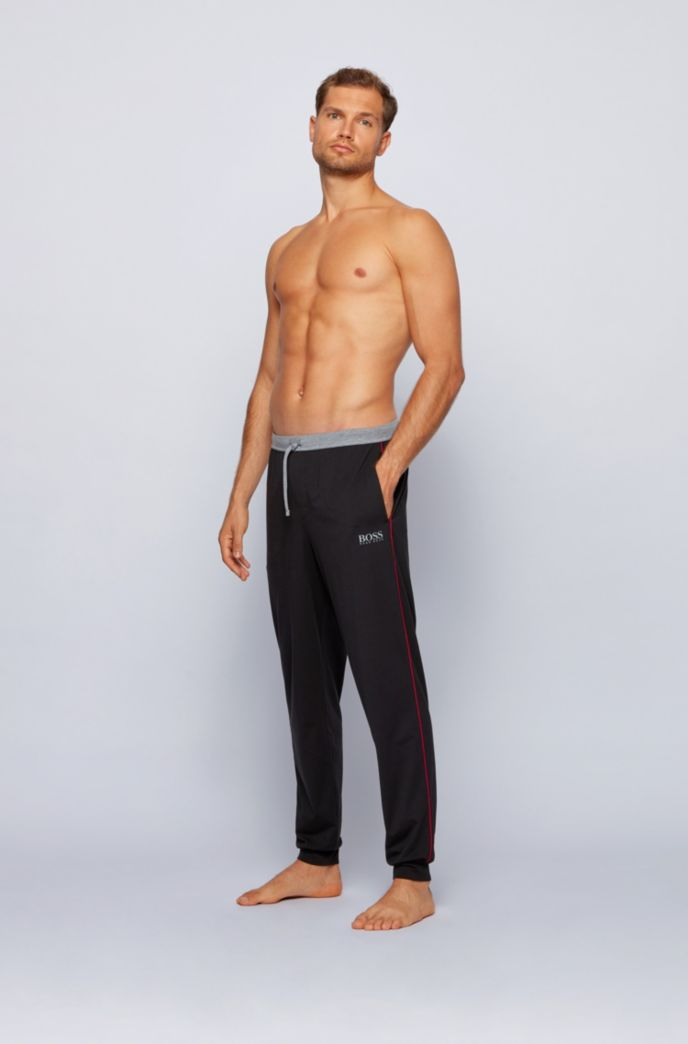 Cotton-blend cuffed pyjama trousers with contrast piping