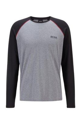 Pyjama-Longsleeve aus Stretch-Baumwolle mit Modal, Grau