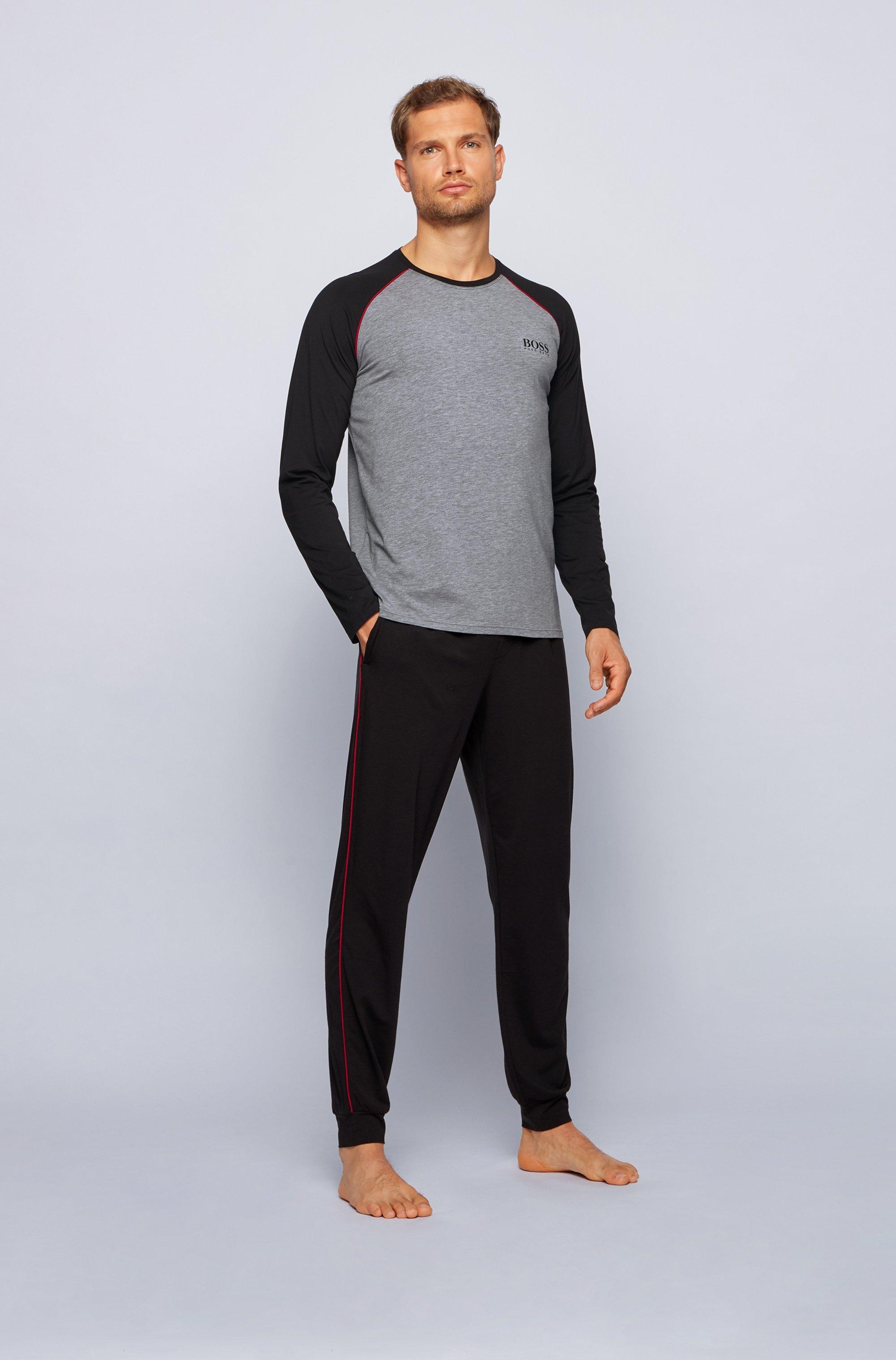 Pyjama-Longsleeve aus Stretch-Baumwolle mit Modal