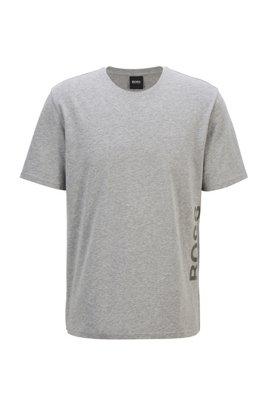 Stretch-cotton pyjama T-shirt with vertical logo, Grey