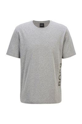 Pyjama-Shirt aus Stretch-Baumwolle mit vertikalem Logo, Grau