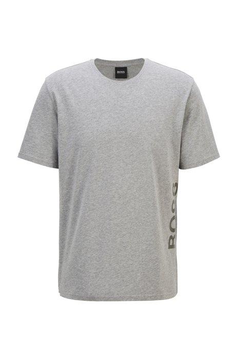T-shirt de pyjama en coton stretch avec logo vertical, Gris