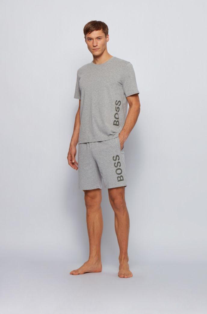 Stretch-cotton pyjama T-shirt with vertical logo