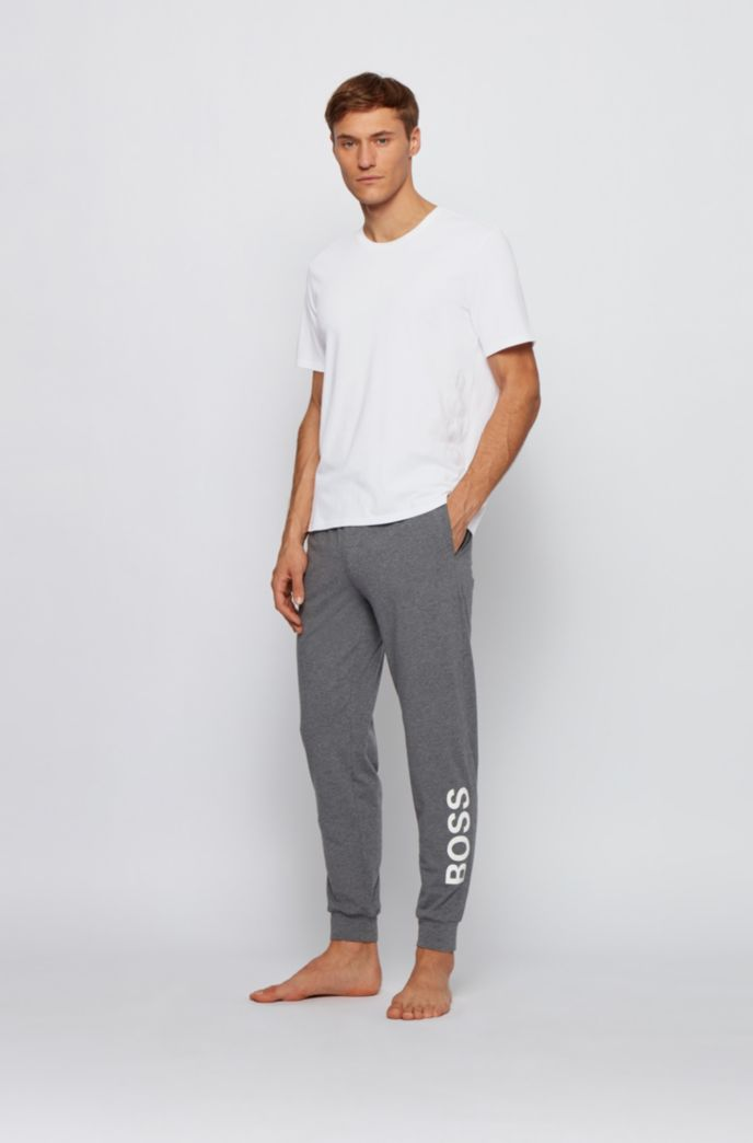 Stretch-cotton pyjama T-shirt with vertical logo