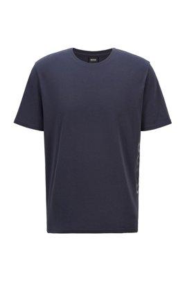 Stretch-cotton pyjama T-shirt with vertical logo, Dark Blue