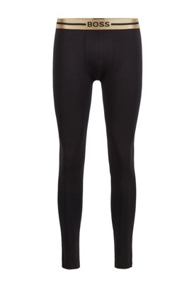 Long johns in stretch bamboo-viscose with logo waistband, Gold