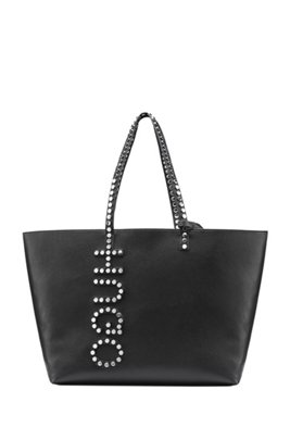 Faux-leather shopper bag with stud logo detailing, Black