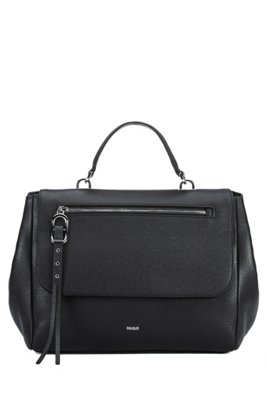 Handbag in grained leather with studded zip puller, Black