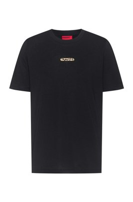 Cotton-jersey T-shirt with new-season logo embroidery, Black