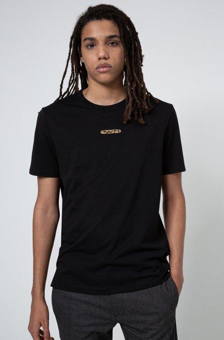 Camiseta de punto de algodón con logo bordado de la nueva temporada, Negro