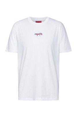 T-shirt en jersey de coton avec logo brodé de la nouvelle saison, Blanc