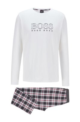 Gift-boxed pyjama set in cotton with checked trousers, Dark Red