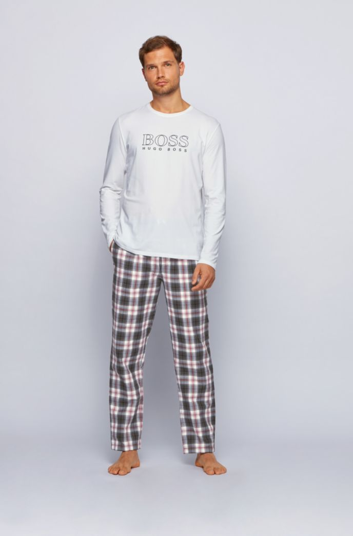 Gift-boxed pyjama set in cotton with checked trousers
