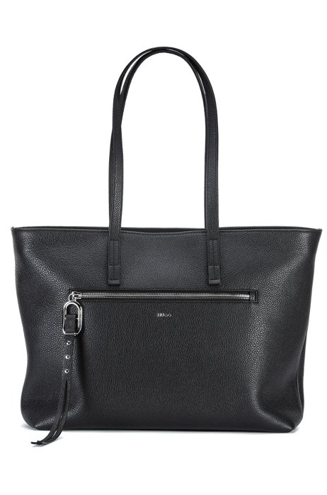 Grainy-leather shopper bag with zipped front pocket, Black