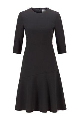 A-Linien-Kleid aus portugiesischem Stretch-Gewebe mit U-Ausschnitt, Schwarz