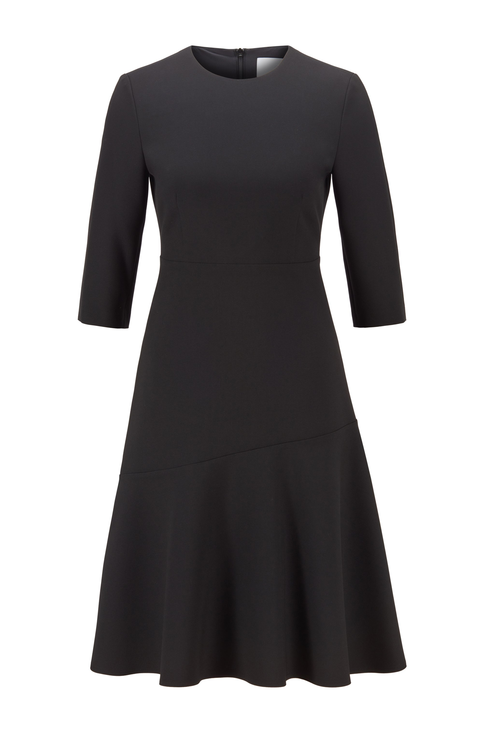 Scoop-neck A-line dress in Portuguese stretch fabric, Black