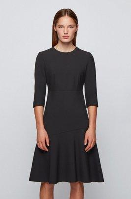 Scoop-neck A-line dress in Portuguese stretch fabric, Black