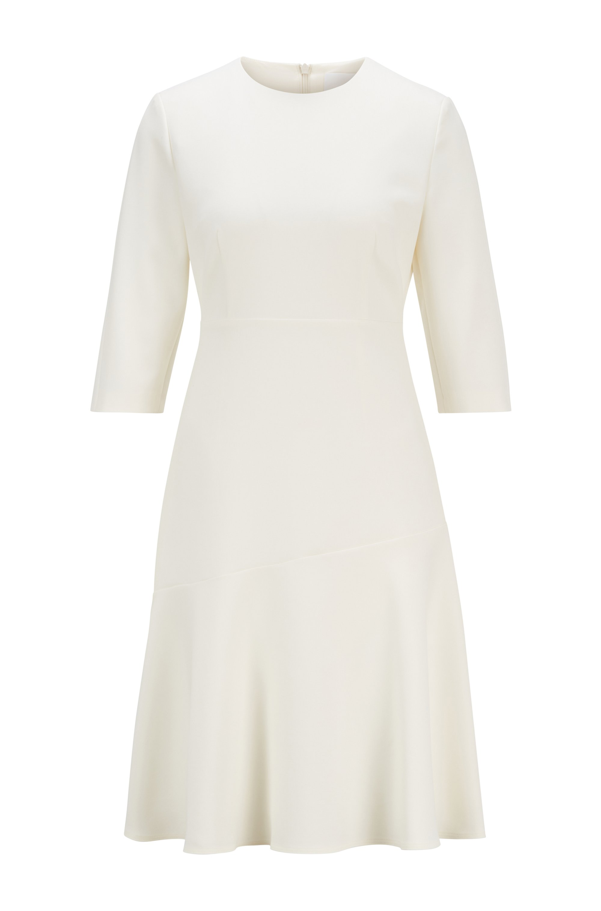 Scoop-neck A-line dress in Portuguese stretch fabric, White
