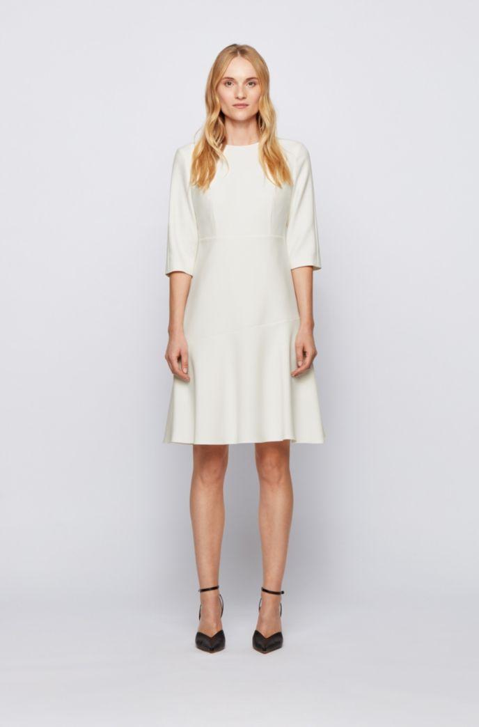 Scoop-neck A-line dress in Portuguese stretch fabric