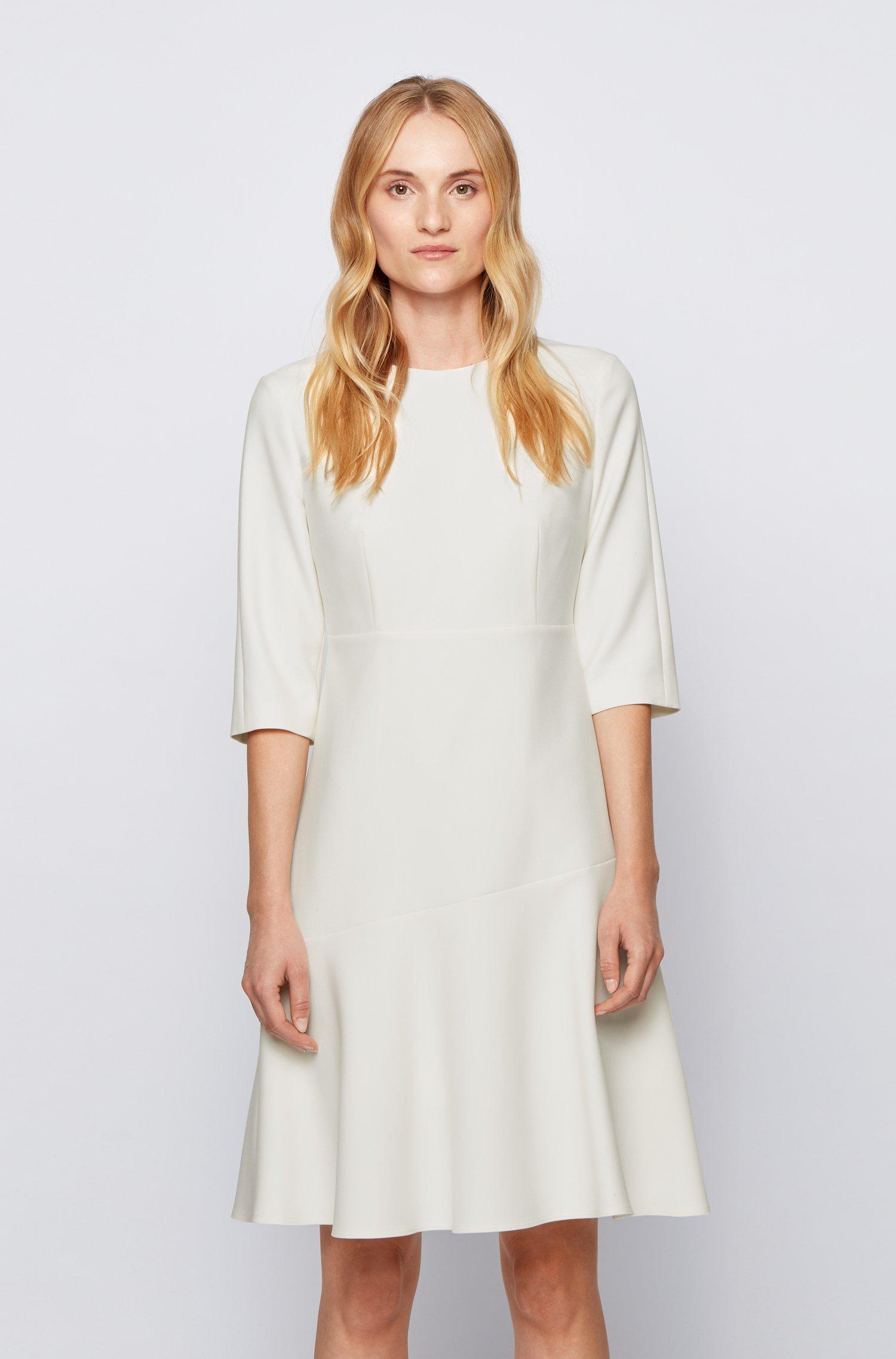 Scoop-neck A-line dress in Portuguese stretch fabric, White