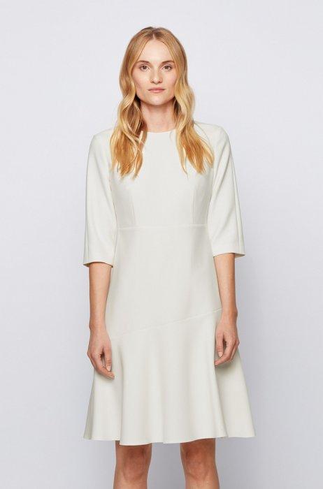 Robe évasée à encolure dégagée en tissu stretch portugais, Blanc
