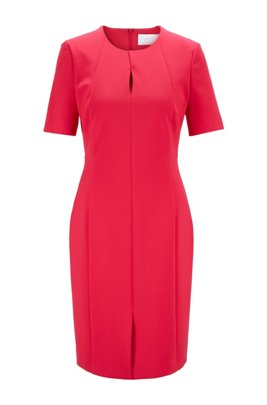 Pleat-front shift dress in Portuguese stretch fabric, Pink