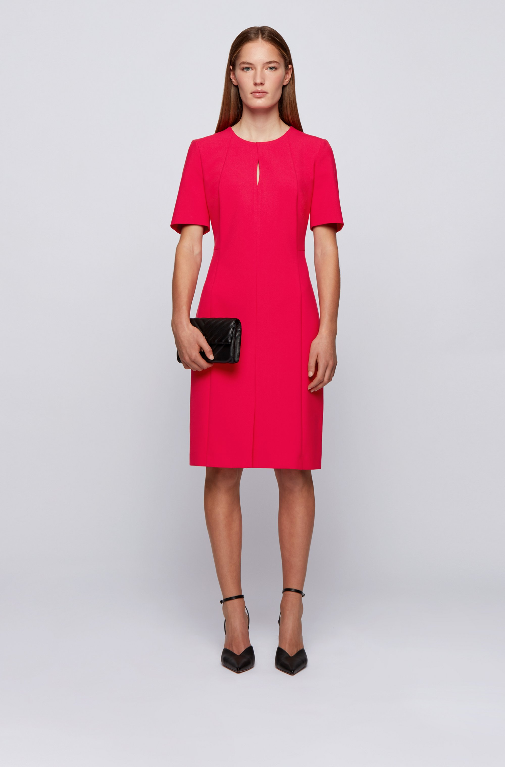 Pleat-front shift dress in Portuguese stretch fabric