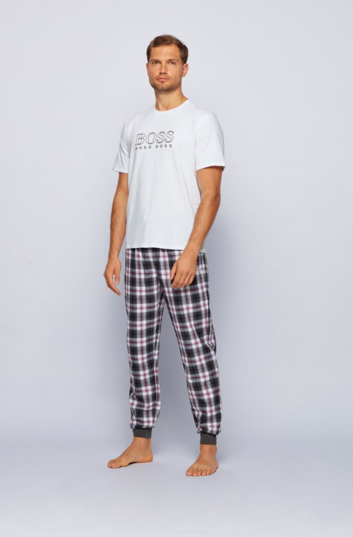 Pyjama T-shirt in stretch cotton with outline logo