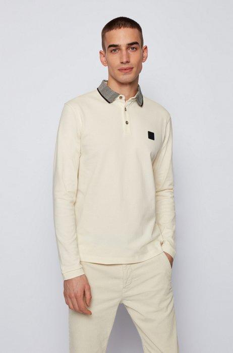 Longsleeve-Poloshirt mit Fischgrät-Muster am Kragen, Hellbeige