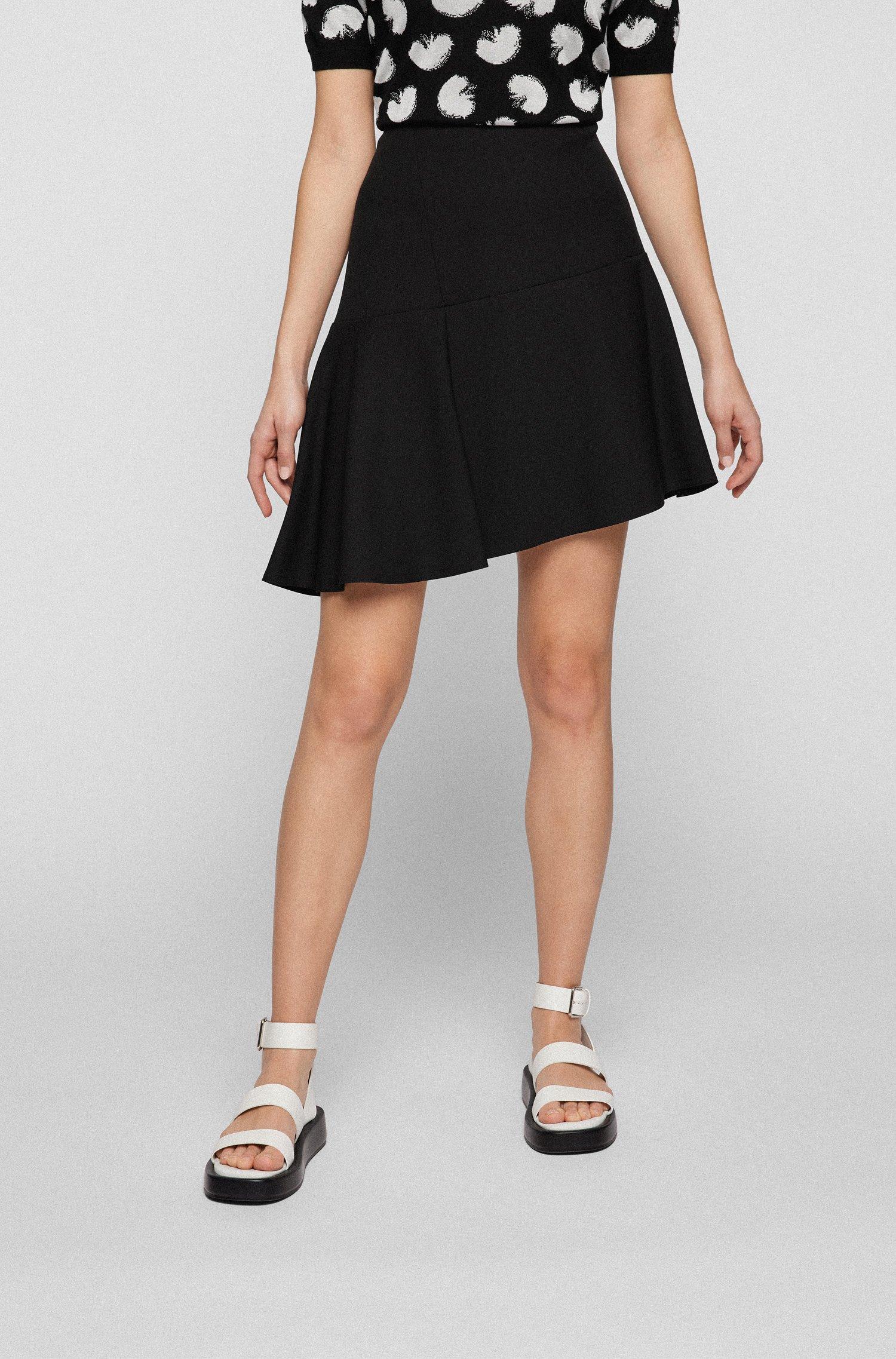 A-line skirt in stretch fabric with asymmetric hem, Black
