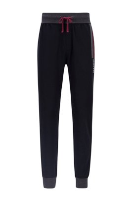 French-terry loungewear trousers with block-striped logo print, Black