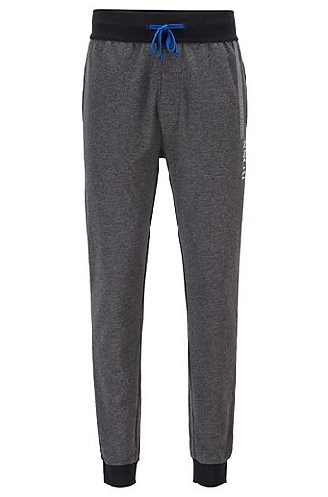 粗条纹徽标印花法式毛圈布家居裤,  022_暗灰色
