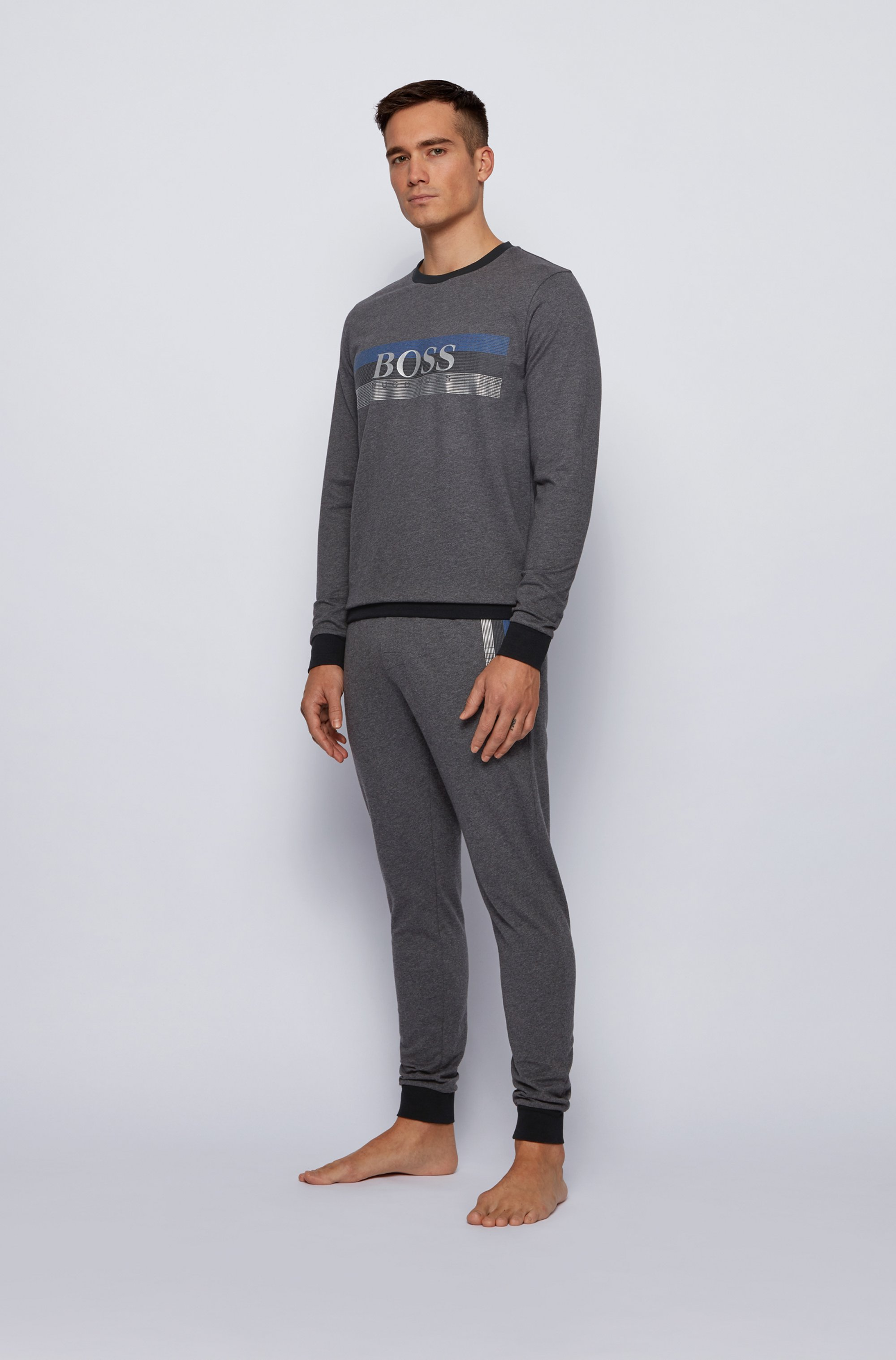 French-terry loungewear trousers with block-striped logo print