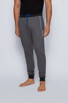 French-terry loungewear trousers with block-striped logo print, Dark Grey