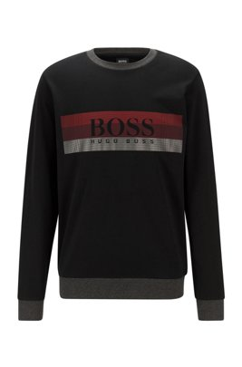 Loungewear sweatshirt with block-striped logo print, Black