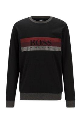 Loungewear-Sweatshirt mit Blockstreifen und Logo-Print, Schwarz
