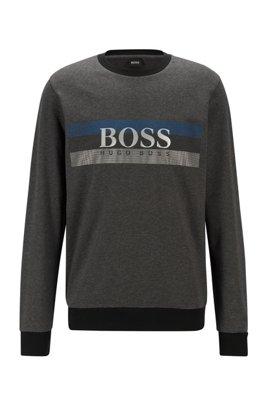 Loungewear sweatshirt with block-striped logo print, Dark Grey