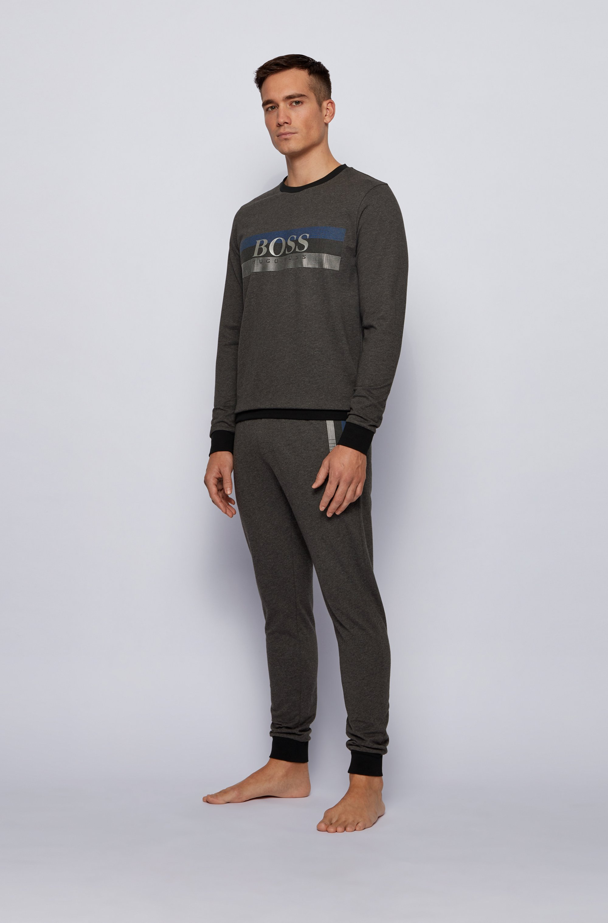 Loungewear sweatshirt with block-striped logo print