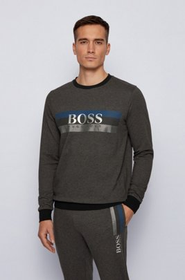 Loungewear sweatshirt with block-striped logo print, Dark Grey