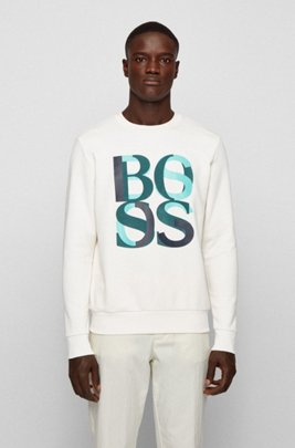 French-terry sweatshirt with layered logo print, White