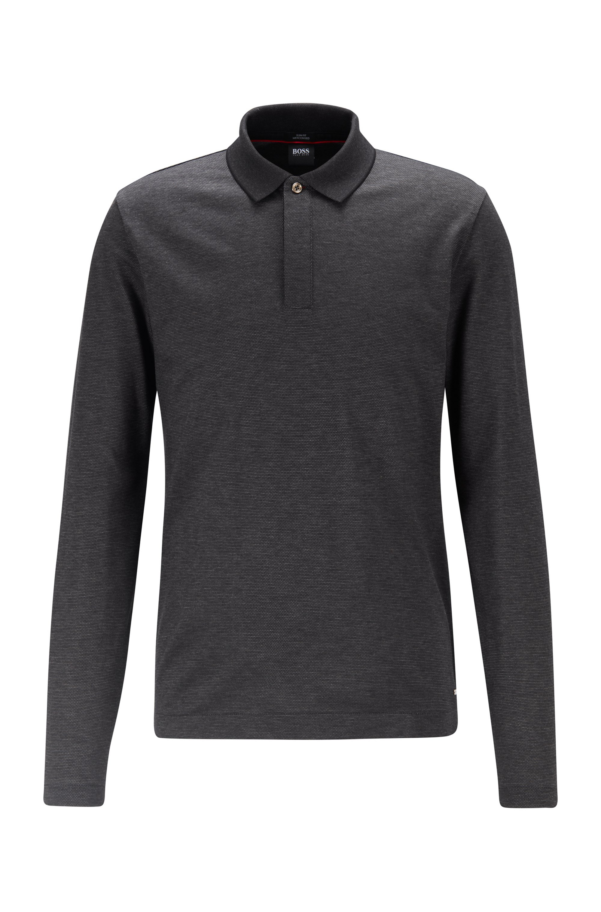 Slim-fit polo shirt in mercerised cotton piqué, Black