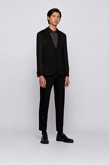 丝光棉珠地布修身 Polo 衫,  001_黑色