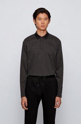 Slim-fit polo shirt in mercerised cotton piqué, Black