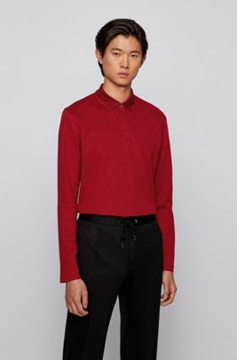 Slim-fit polo shirt in mercerised cotton piqué, Red