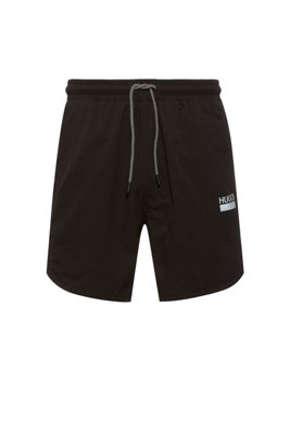 Quick-dry stretch swim shorts with reflective details, Black