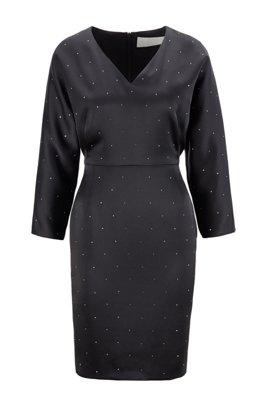 V-neck dress in satin-back crepe with Swarovski® crystals, Black