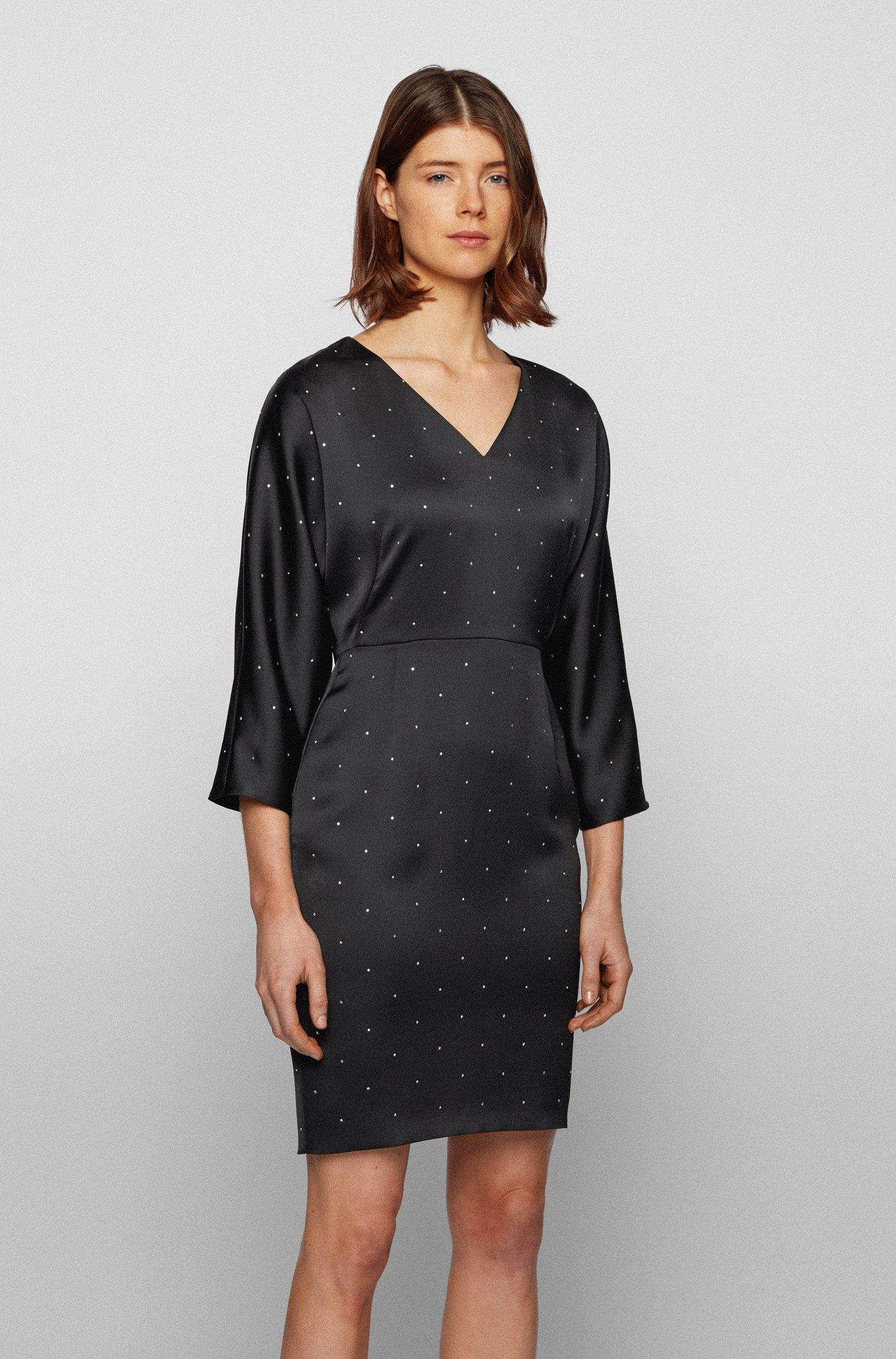V-neck dress in satin-back crepe with crystals, Black